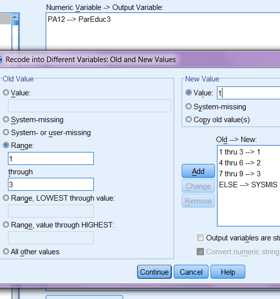 SPSS Recode into Different Variable Old and New Values