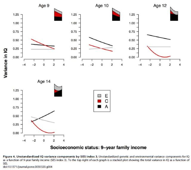 Socioeconomic Status (SES) and Children's Intelligence (IQ) - In a UK-Representative Sample SES Moderates the Environmental, Not Genetic, Effect on IQ - F4